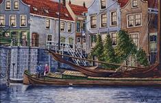 VIII-10-01 Delfshavense Schie bij de Mathenesserdijk, de Aelbrechtssluis en de Aelbrechtsbrug, rechts café De Vergulde Zwaan.