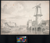 VIII-106-1 Pompenburgsingel met de Blauwe Molen uit westelijke richting gezien. Links Couwenburghs eiland; rechts de ...
