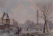 VIII-108 Gezicht op de Goudsesingel met bevroren stadsvest voor de Pompenburg, tussen Hofpoort en Goudse Poort.