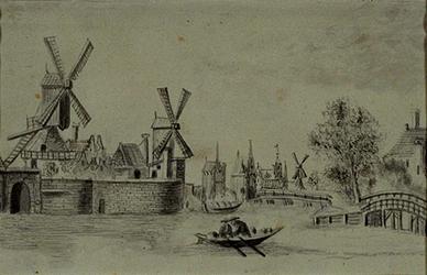 VIII-116 Pompenburgsingel met op de achtergrond de Hofpoort en de Delftse Poort, links de Pompenburg.