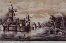 VIII-117 Gezicht op de ingang de Botersloot, het bolwerk Pompenburg en de vestmuur tot aan de Hofpoort en Couwenburgs ...