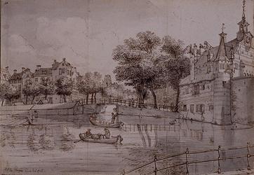 VIII-15-28 De Delftsevaart met de Delftse Poort anno 1761.