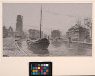 VIII-36-00-34 Gezicht op de Delftsevaart uit het noorden. Rechts het stadstimmerhuis in aanbouw, op de achtergrond van ...