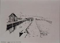 VIII-52-04 Gezicht op het sluisje in het Noorderkanaal met op de achtergrond de Vlaggemansbrug, vanuit het oosten.