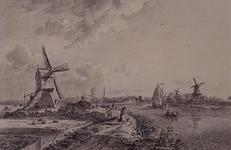 VIII-55 De Rotte vanuit het noordoosten, met de Rubroekse watermolen. Rechts verfmolen De Kievit.