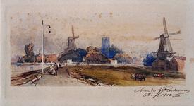 VIII-61 Rotte met rechts de verfmolen De Kievit in het midden de loodwitmolen van Hubert.