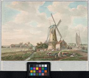 VIII-7 De korenmolen de Hoekmolen aan de Delfshavense Schie, rechts, uit zuidelijke richting gezien. Op de achtergrond ...