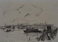 VIII-70-12 Gezicht op de Rotte bij het Noorderkanaal, vanuit het westen. Op de achtergrond: De Crooswijkse brug, over ...