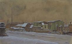 VIII-70-16 Gezicht op de woonschuitjes in de Rotte bij Crooswijk met sneeuw. Op de achtergrond de Karnemelksbrug.