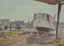 VIII-70-24 Gezicht over de Rotte vanaf Crooswijk, tegenover het Zwaanshals, uit het oosten. Op de achtergrond de Sint ...