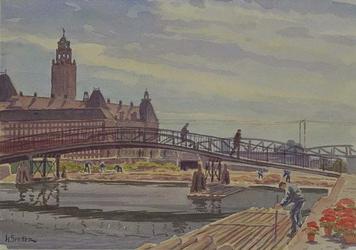 VIII-70-28 Gezicht op het dempen van een gedeelte van de Rotte tussen de Langebrug en de Karnemelksbrug, uit het ...