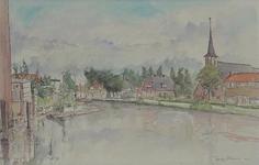 VIII-70-31 Gezicht op de Rotte onder Terbregge, uit het zuiden. Rechts gezicht op de Nederlandse Hervormde Kerk aan de ...
