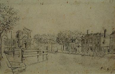 VIII-74 Gezicht op de Rotterdamse Schie met de Delftse Poort en de stadsherberg de Romeijn uit het noorden.