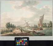 VIII-8 Delfshavense Schie, rechts, uit noordelijke richting gezien. Links de Beukelsdijk die uitkomt op het pad aan de ...