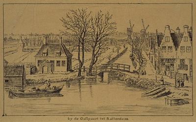 VIII-92-2 De Slaak, op de voorgrond de Goudsesingel, op de achtergrond drie Kralingse watermolens.