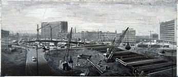 X-11-373-02 Metro bouwdok van het Hofplein gezien met op de achtergrond rechts Delftsestraat en districtspostkantoor, ...