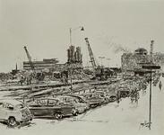 X-11-450-1 Metrowerkzaamheden met betonmolen, op de achtergrond het Groothandelsgebouw en links het Bouwcentrum uit het ...