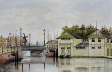 X-193-00-01 Gezicht op de Oude Oostbrug.Op de voorgrond de ponton van de roeivereniging Nautilus.