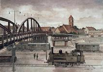 X-251-01-00-01 Spoorwegviaduct uit het oosten. Op de achtergrond de rk kerk aan het Breeplein.