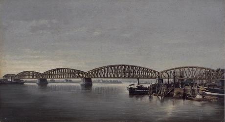 X-33-2 Gezicht op de spoorburg over de Nieuwe Maas in aanbouw, uit het noordoosten, rechts achter de brug de Boompjes.