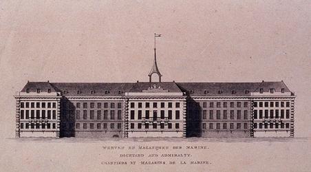 XI-17-2 Voorgevel van het Admiraliteitsmagazijn op 's Landswerf.
