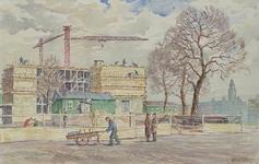 XI-48-00-05-17 Aanbouw spoorwegpostkantoor aan het Delftseplein, uit het noordwesten.