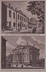 XI-6-1-EN-2 Gezicht op het Admiraliteitshof uit het noordwesten, en een gezicht op het Gemeenlandshuis van Schieland.