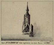 XII-1 Gezicht op het stadhuis aan de Hoogstraat uit het noorden.