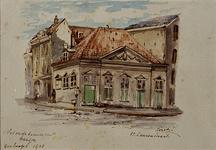 XII-100 Gezicht op het brandspuithuisje aan het Grotekerkplein, uit het zuidoosten.