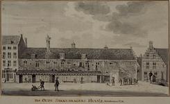 XII-102-02-01 Het oude Zakkendragershuisje aan de Nieuwemarkt, dit is afgebroken in 1759.