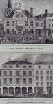 XII-12-2 Boven: Gezicht op het oude stadhuis achterzijde aan de Kaasmarkt. circa 1820.Onder: Gezicht op de Boterwaag ...