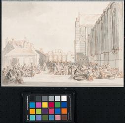 XIV-120 Markttafereel. Rechts de noordelijke gevel van de Grote- of Sint-Laurenskerk. Op de achtergrond gevels aan het ...