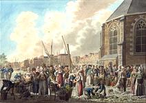 XIV-121 Grotekerkplein. Groentemarkt, aan de noordzijde van de Grote Kerk.