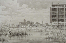 XIV-127-04 De bouw van het Algemeen Verkooplokaal aan de Kipstraat, uit het zuidoosten. Rechts de achterzijde van het ...