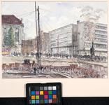 XIV-159-01-02 Bouwput voor het nieuwe gebouw van de Amsterdamsche Bank aan de Coolsingel, gezien uit het westen. Op de ...