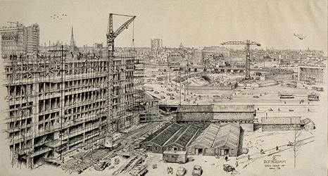 XIV-159-28 Het EN kantoorgebouw in aanbouw met op de achtergrond de bouwput voor het Shell kantoorgebouw, uit het zuiden.
