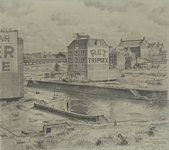 XIV-174-00-02 Het pand van de Rotterdamse Hout-, Triplex- en Bouwmaterialenhandel RET aan het Hang, gezien vanaf de ...