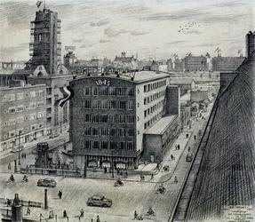 XIV-203-02-02 Nieuwbouw De Nederlanden van 1845 gezien vanaf het Stadstimmerhuis met toren Grote Kerk, uit het noordwesten.