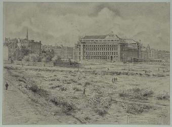 XIV-230-00-05 Achterkant van de Nationale Levensverzekering Bank in aanbouw aan de Schiekade, gezien vanaf de spoorbaan ...