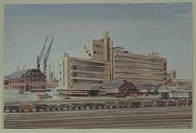 XIV-239-04 Het HAKA-gebouw aan de Vierhavensstraat, gezien uit het oosten vanaf het goederenemplacement.