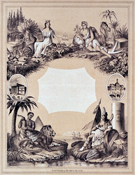 XIV-32 De Beurs te Rotterdam en te AmsterdamEen allegorie op de handel.