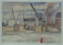 XIV-355-05-01 Gezicht op de toegangspoort tot de terreinen van de Scheepvaart - en Steenkolen Mij aan de Merwehaven ...