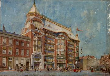 XIV-449-00-01 Ontwerptekening voor warenhuis Cohn Donnay & Co aan de Korte Hoogstraat 1.