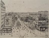 XIV-453-00-41 het nieuwe hart van Rotterdam nieuwbouw en afbraak rond de Korte Lynbaan Links het Holbeinhuis, uit het oosten.