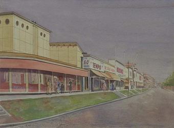 XIV-478-07 Gezicht op de Statenpad met de noodwinkel langs de Stationssingel, vanaf de Statenweg, gezien uit het westen.