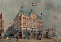 XIV-478-08 Het warenhuis Les Grandes Galeries Belges met links de Hoogstraat en rechts de Kolk, gezien vanuit het westen.