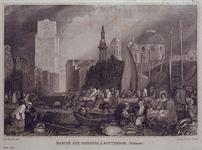 XIV-63 De Scheveningse Vischmarkt aan de Coolsingel. Op de achtergrond links de toren van de Sint-Laurenskerk en rechts ...