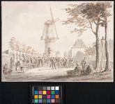 XIV-82 Markttafereel: de Scheveningse vismarkt, gezien uit zuidelijke richting. Links, achter een muurtje, ligt de ...