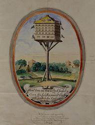 XIX-61-01 Afbeelding op een glas (vensterglas) door Gysbrecht Huibrechts Duyfhuysen geschonken aan de Pest- en Dolhuis ...