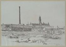 XV-236-02 Gezicht op de Schoterbosstraat met Chr. v.d. Graaf's Bakkerijen en de verwoeste omgeving, gezien uit noorden.